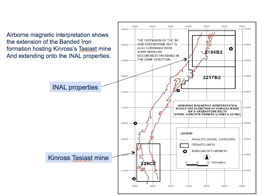 Geophysics data shows extension of structure hosting Tasiast Mine NE onto the INAL Property